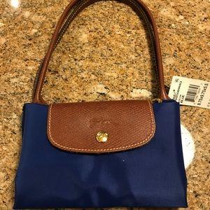 NWT Longchamp Le Pliage Medium Blue Shoulder Bag